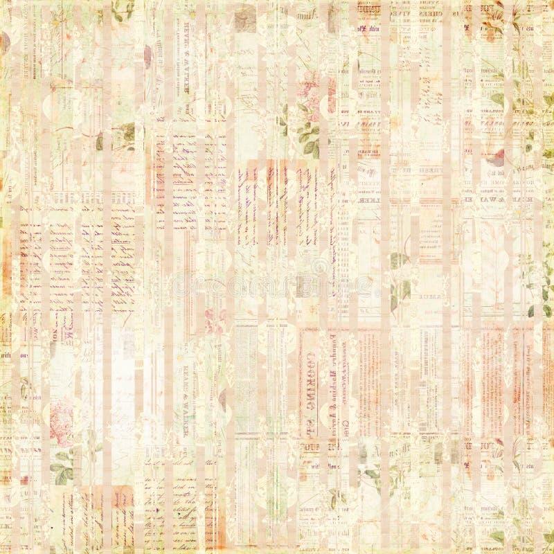 Coisas efêmeras do vintage, texto e colagem de papel das flores ilustração do vetor