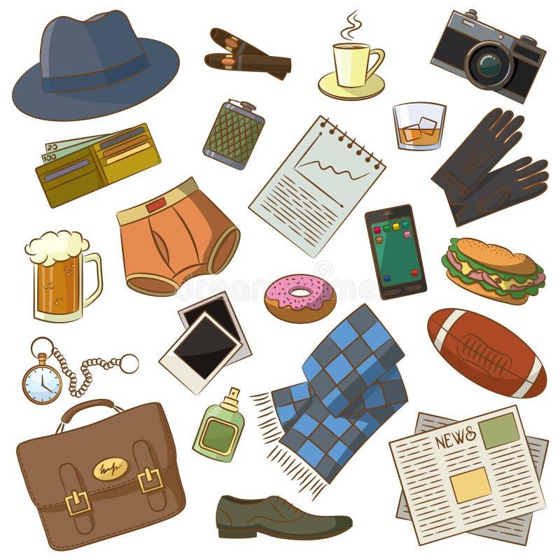 Coisas masculinas ilustração royalty free