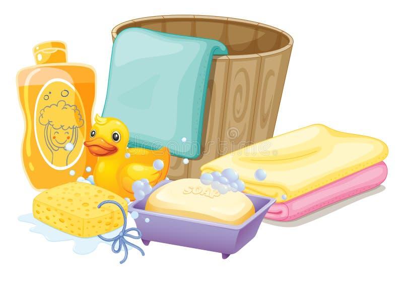 Coisas necessários em tomar um banho ilustração royalty free