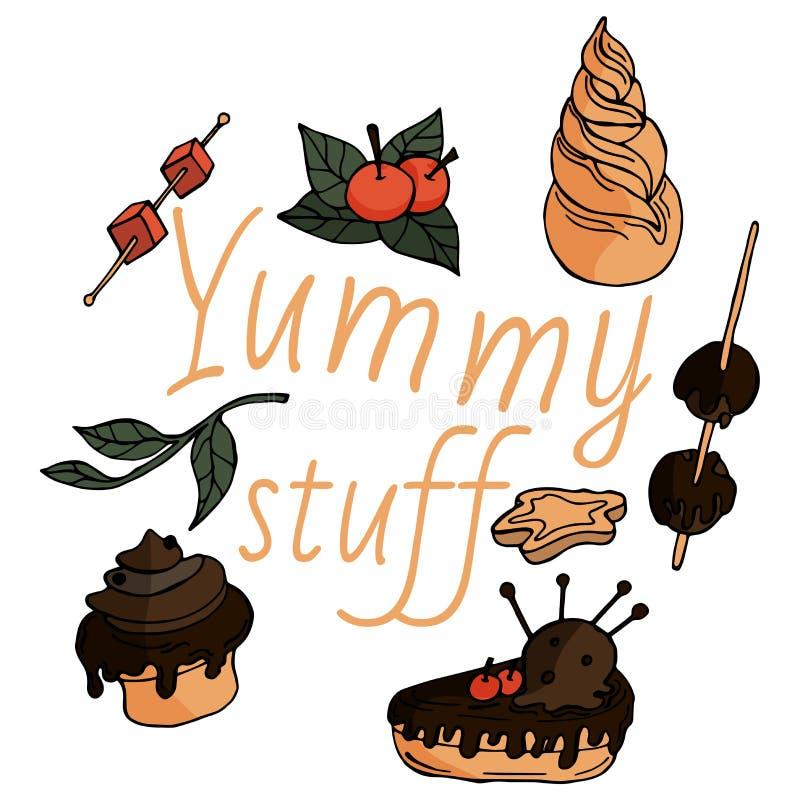 Coisas saborosos no estilo criançola ilustração stock