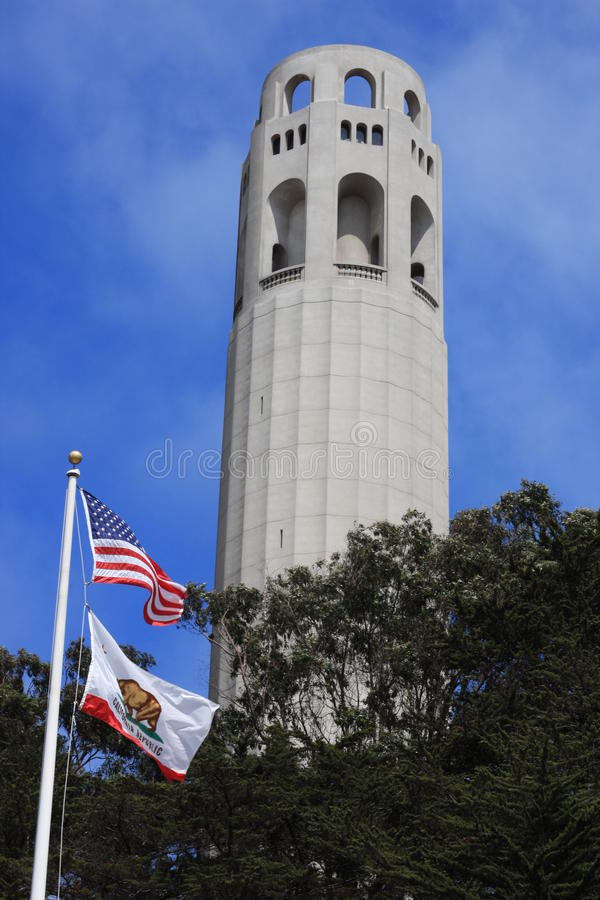Coit Tower in San Francisco atop Telegraph Hill royalty free stock photography