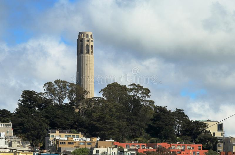 Coit tower on Telegraph Hill in San Francisco stock photo
