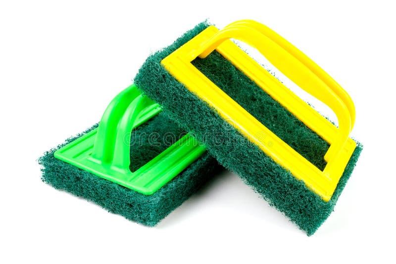 Cojín resistente verde del estropajo de la limpieza imagen de archivo libre de regalías