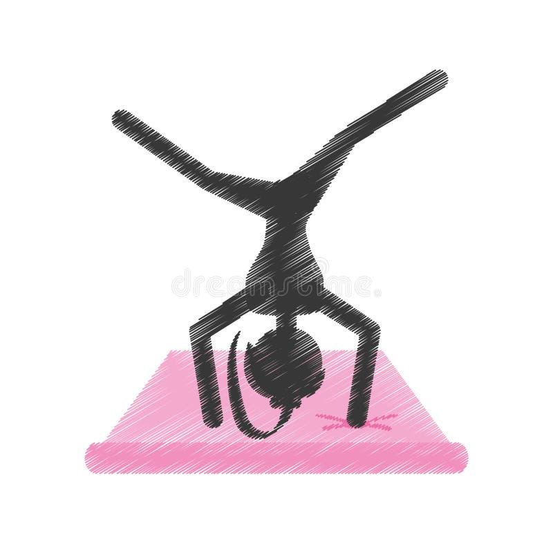 Cojín rosado practicante de la yoga de la muchacha de la silueta libre illustration