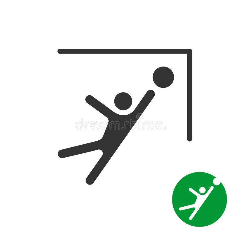 Coja la bola del fútbol en un icono de la esquina de las puertas ilustración del vector