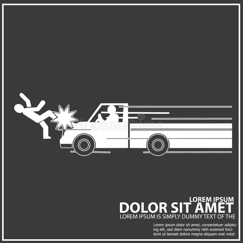 Coja la colisión de la velocidad del camión con un peatón ilustración del vector
