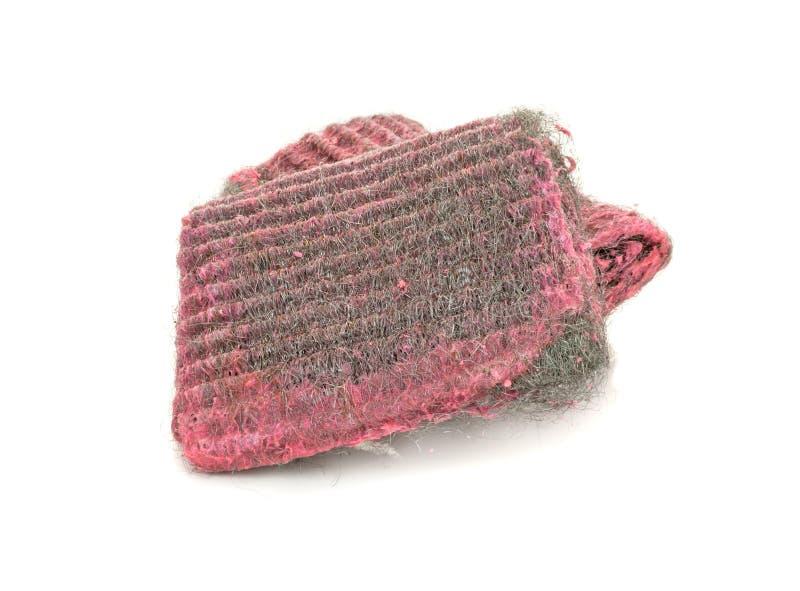 Cojines de fregado de las lanas del alambre con el jabón imágenes de archivo libres de regalías