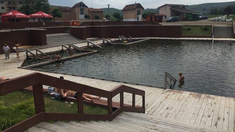 Cojocna手段,盐矿湖 库存图片