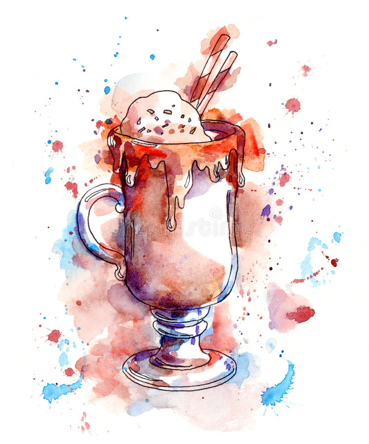 Cokctail del café con el chocolate y el helado watercolor stock de ilustración