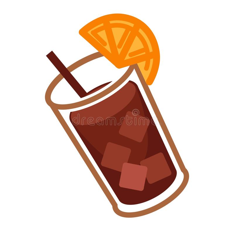 Coke cocktail with citrus vector illustration