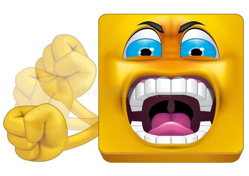 Colère carrée d'émoticône illustration stock