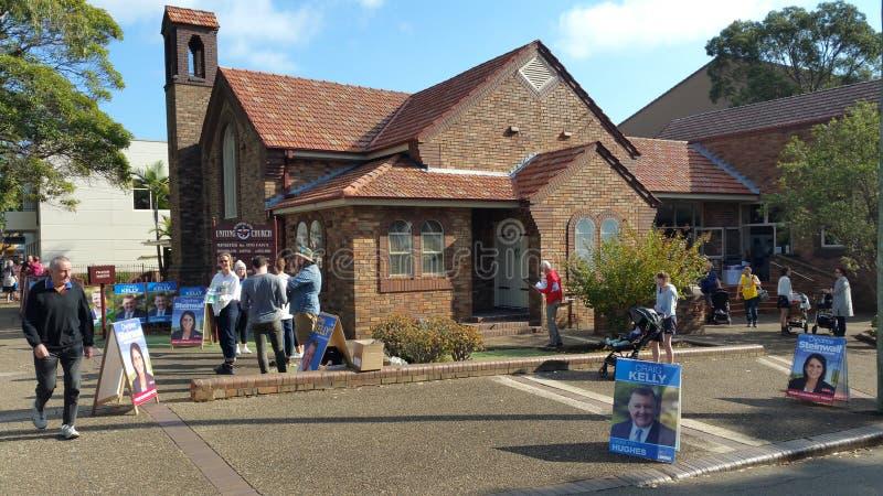 Colégio eleitoral federal australiano da eleição 2019 no subúrbio de Sutherland de Sydney fotografia de stock