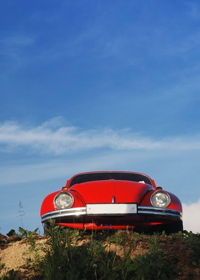 Coléoptère rouge et ciel bleu photos stock