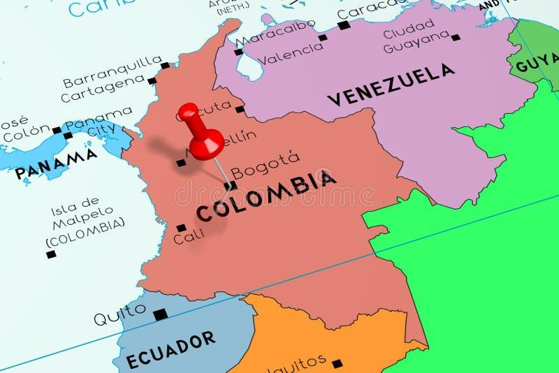 Colômbia, Bogotá - capital, fixado no mapa político ilustração stock