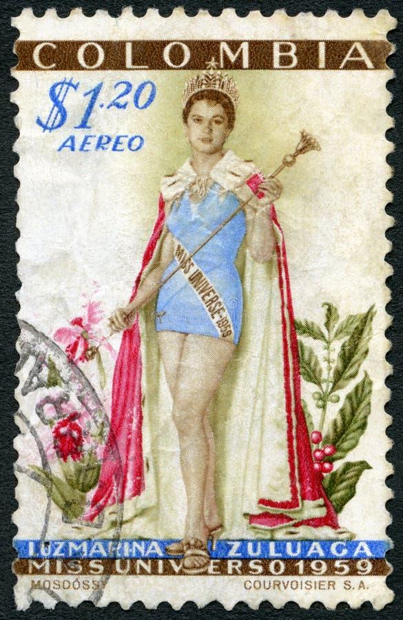 COLÔMBIA - CERCA DE 1959: mostras Luz Marina Zuluaga (carregada 1938), senhorita Universe 1958 imagens de stock