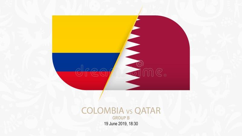 Colômbia contra Catar, grupo B da competição do futebol ilustração royalty free