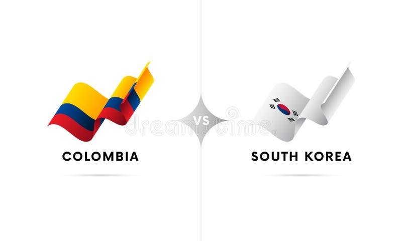 Colômbia contra Coreia do Sul Futebol Ilustração do vetor ilustração stock