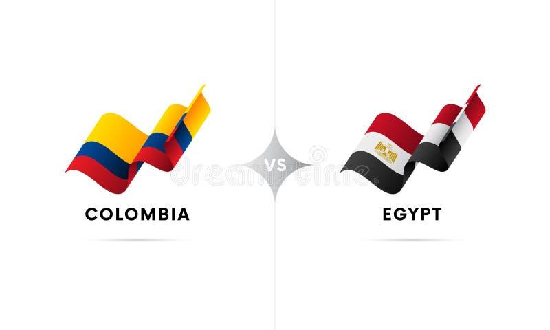 Colômbia contra Egito Futebol Ilustração do vetor ilustração stock