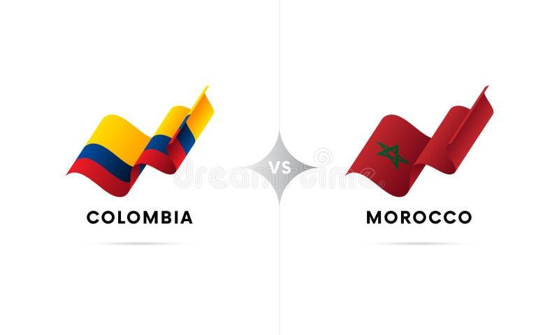 Colômbia contra Marrocos Futebol Ilustração do vetor ilustração do vetor