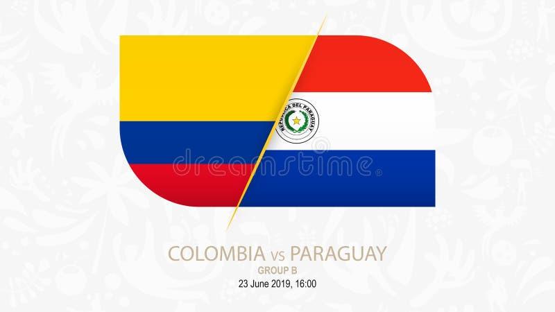 Colômbia contra Paraguai, grupo B da competição do futebol ilustração stock