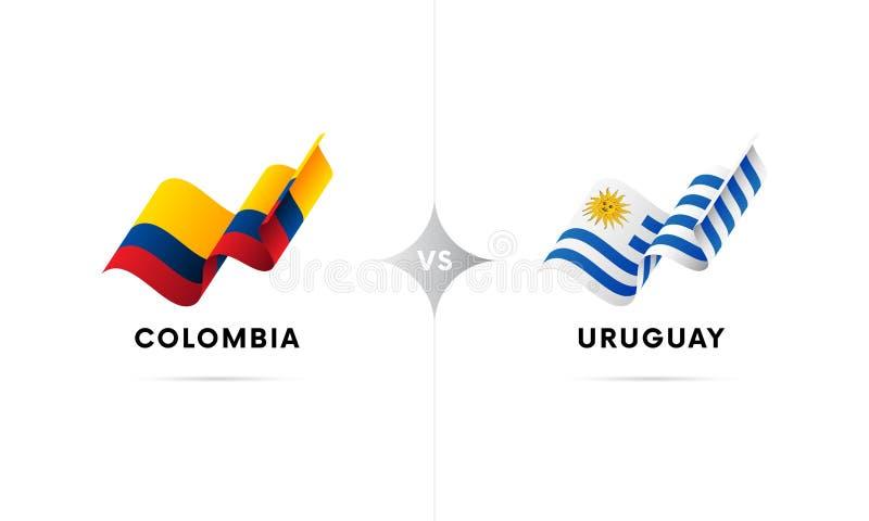 Colômbia contra Uruguai Futebol Ilustração do vetor ilustração stock