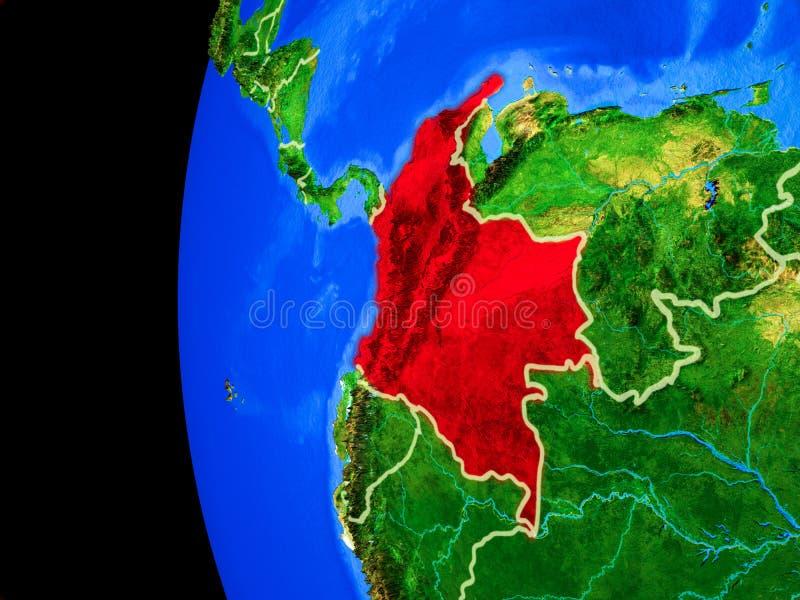 Colômbia do espaço ilustração royalty free