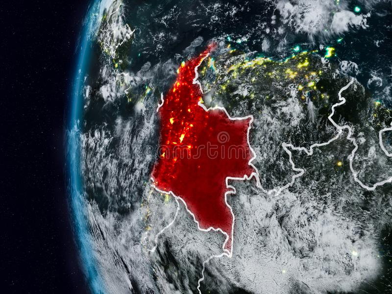 Colômbia do espaço durante a noite ilustração royalty free