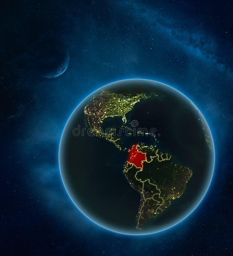 Colômbia do espaço na noite ilustração stock