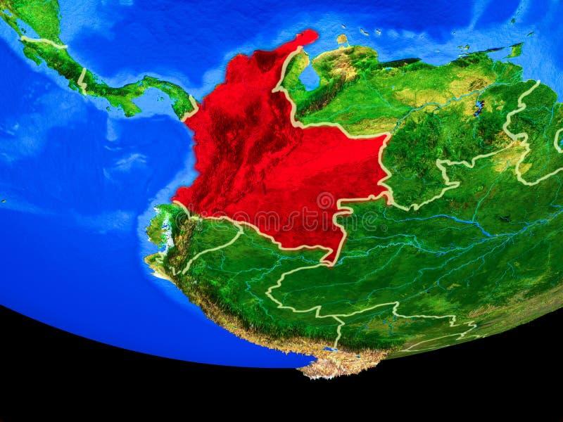 Colômbia do espaço na terra ilustração do vetor