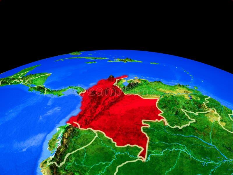 Colômbia do espaço na terra ilustração royalty free
