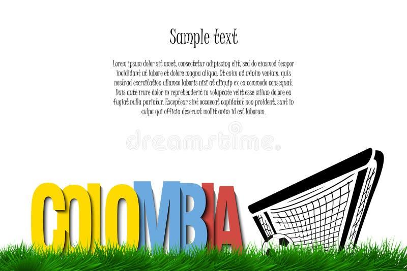 Colômbia e uma bola de futebol na porta ilustração do vetor