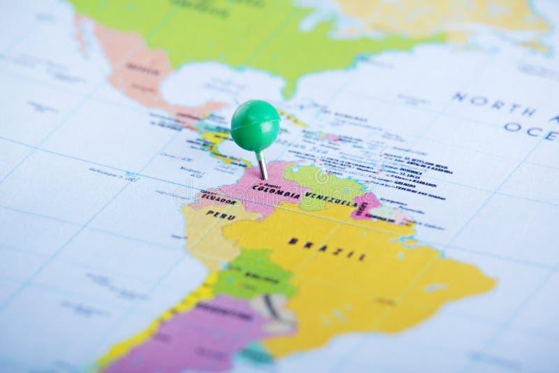 Colômbia fixou no mapa fotografia de stock royalty free