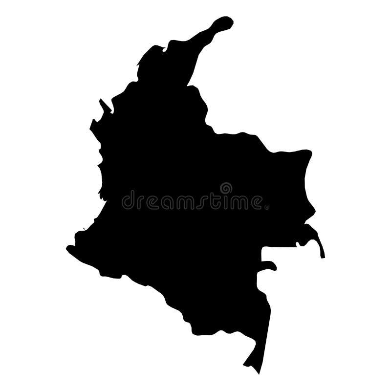 Colômbia - mapa preto contínuo da silhueta da área do país Ilustração lisa simples do vetor ilustração stock