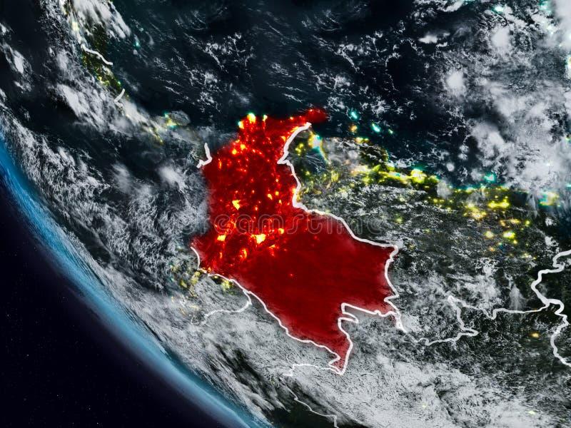 Colômbia na noite do espaço ilustração royalty free
