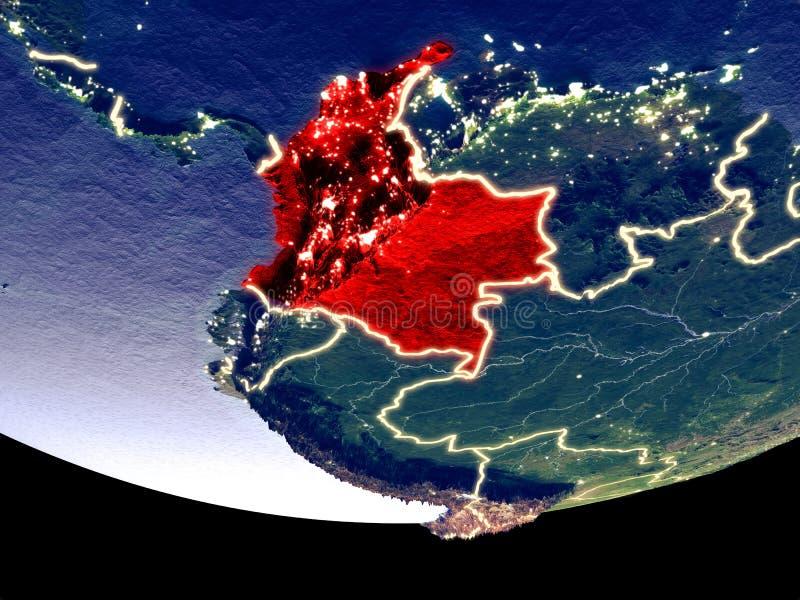 Colômbia na noite do espaço ilustração do vetor