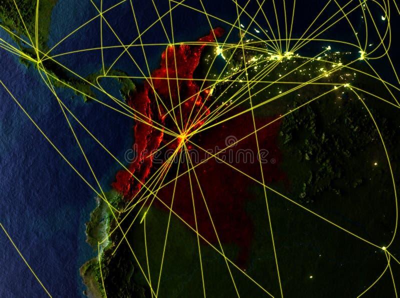 Colômbia na terra com redes ilustração stock