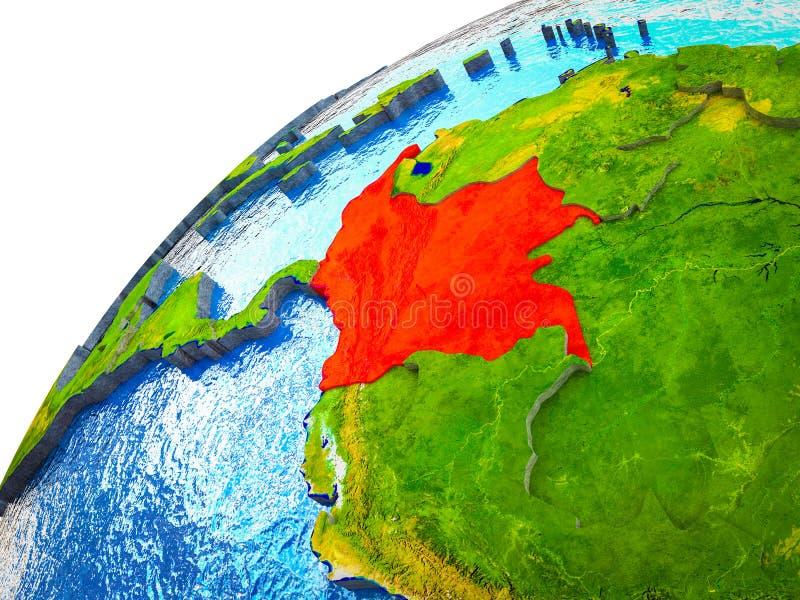Colômbia na terra 3D ilustração do vetor