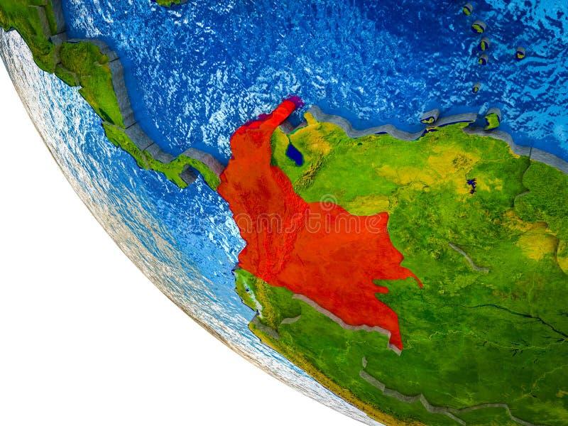 Colômbia na terra 3D ilustração stock