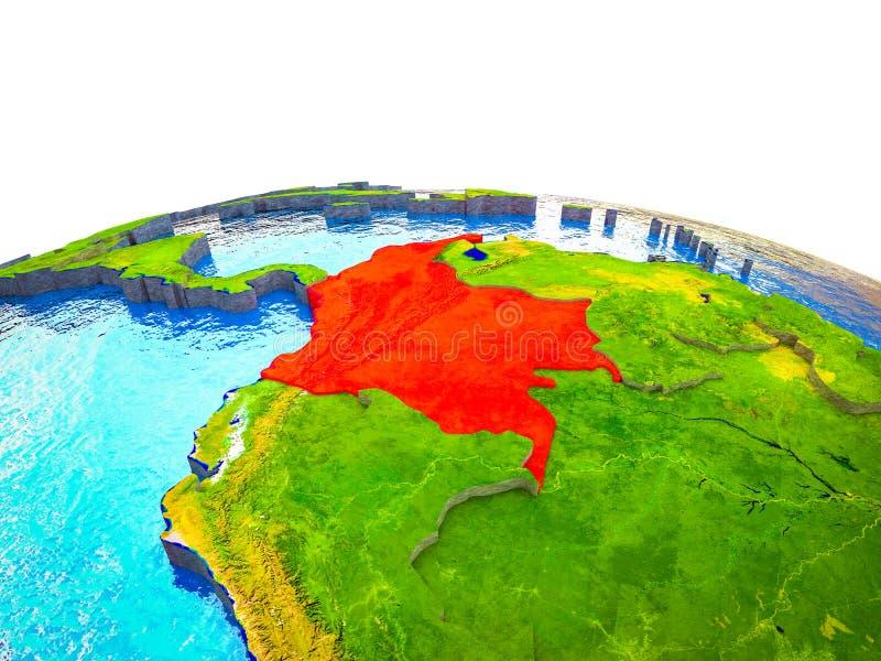 Colômbia na terra 3D ilustração royalty free