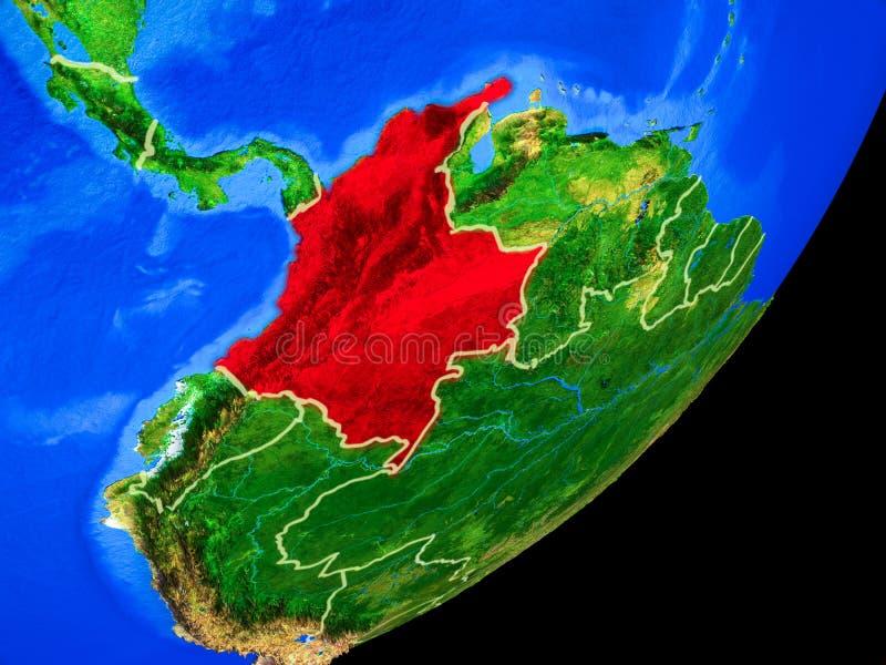 Colômbia na terra do espaço ilustração do vetor
