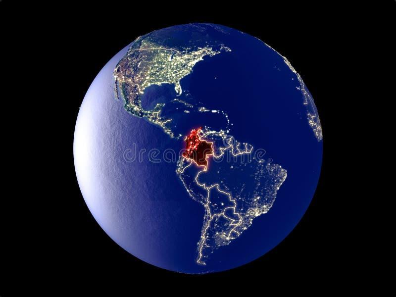 Colômbia na terra do espaço imagens de stock