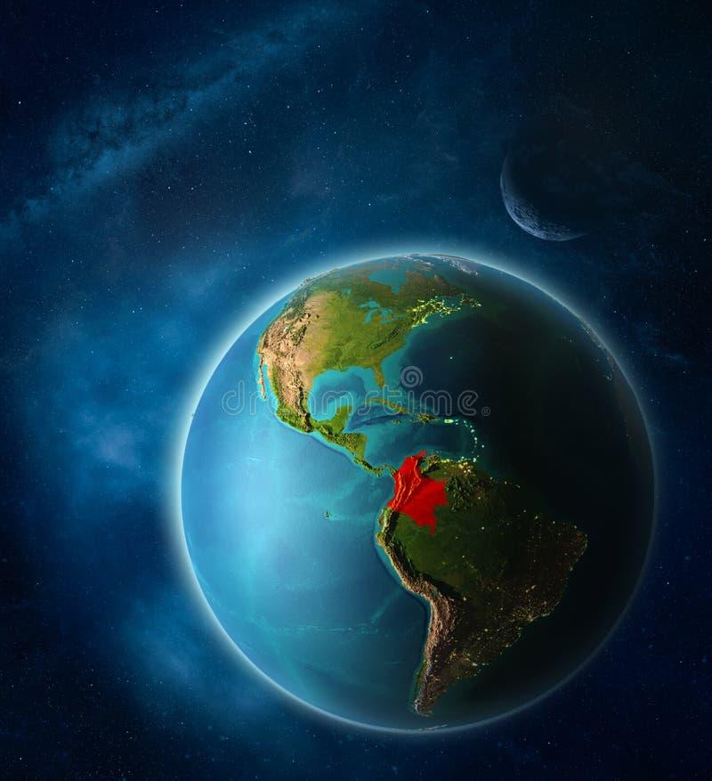 Colômbia na terra do espaço ilustração royalty free