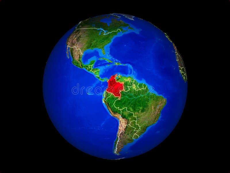 Colômbia na terra do espaço ilustração stock