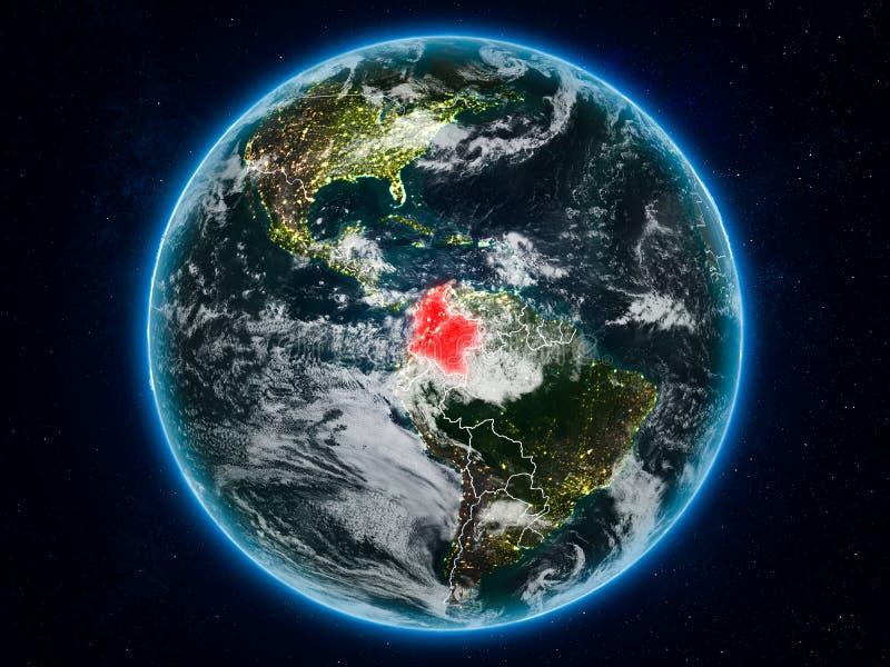 Colômbia na terra na noite ilustração do vetor