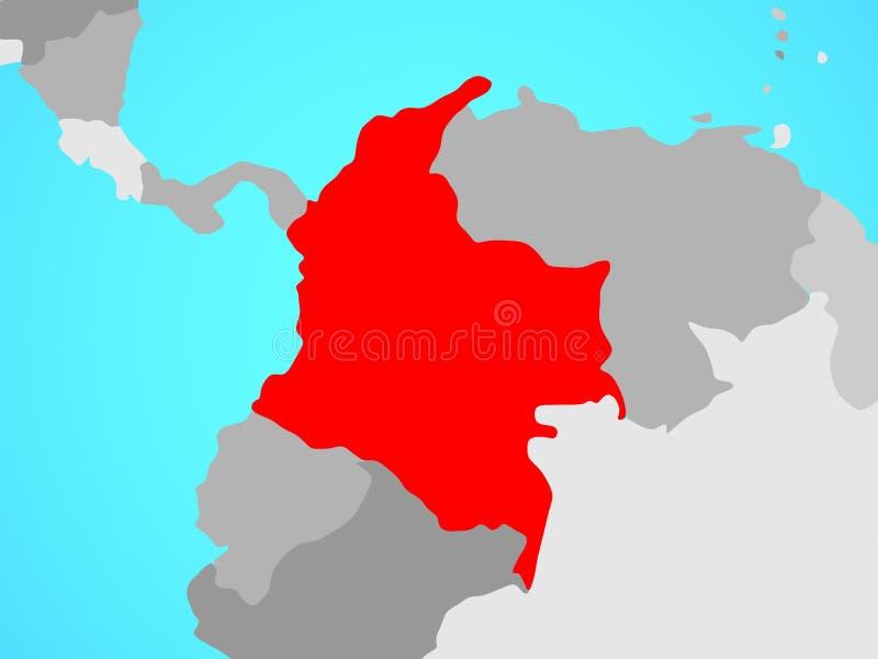 Colômbia no mapa ilustração royalty free