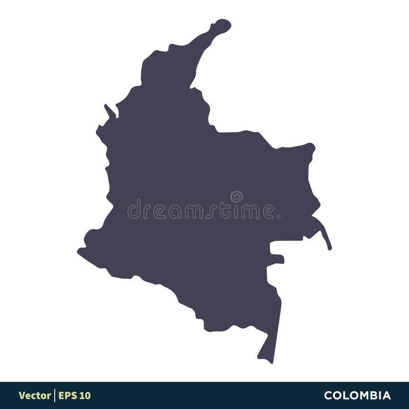 Colômbia - os países de Ámérica do Sul traçam o vetor Logo Template Illustration Design do ícone Vetor EPS 10 ilustração do vetor