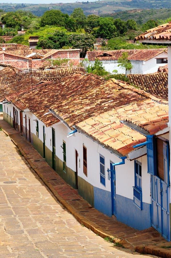 Colômbia, rua da vila de Barichara imagens de stock