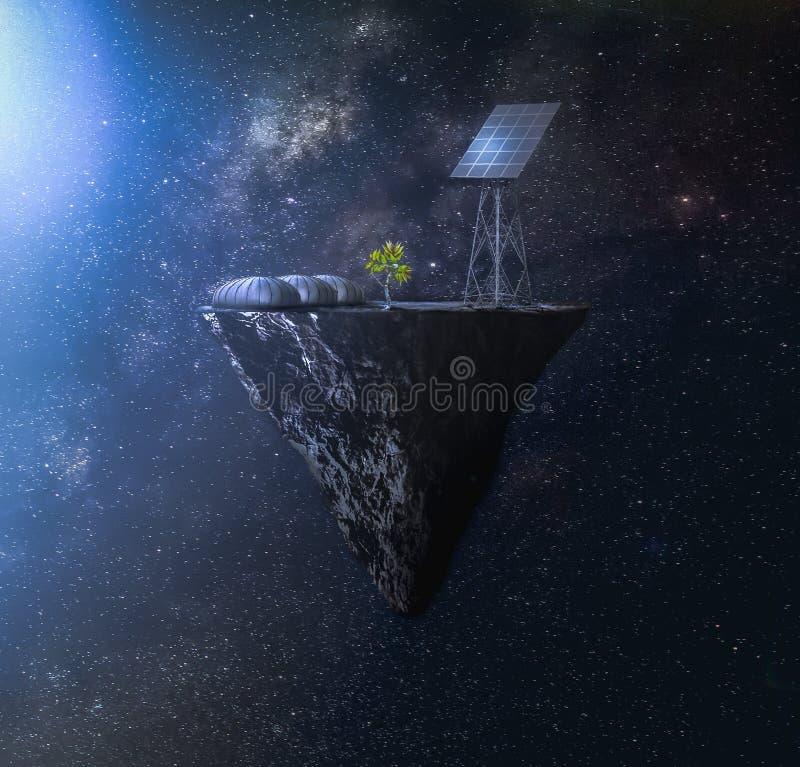 Colônia do espaço ao lado de uma estrela de nêutron imagens de stock royalty free