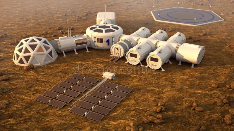 A colônia em Marte Vida autônoma em Marte ilustração royalty free