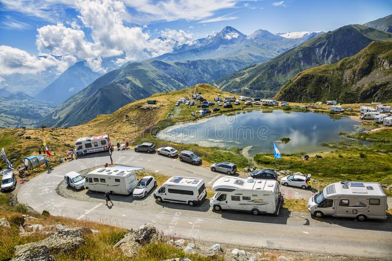 Fans in the Mountains - Tour de France 2015 royalty free stock image